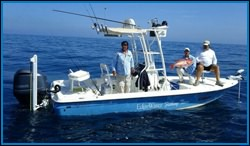 Captain Fred on a Daytona Beach fishing charter in the Atlantic Ocean.